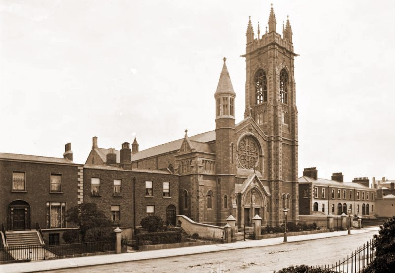St. Stephen's Parochial School House in 1916 after the Battle with British Soldiers on guard.